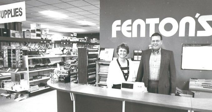 Jerry & Suzanne Carpenter stand at the counter of Fentons Office Mart located at 111 W. McElroy Rd, the store's third and current location.