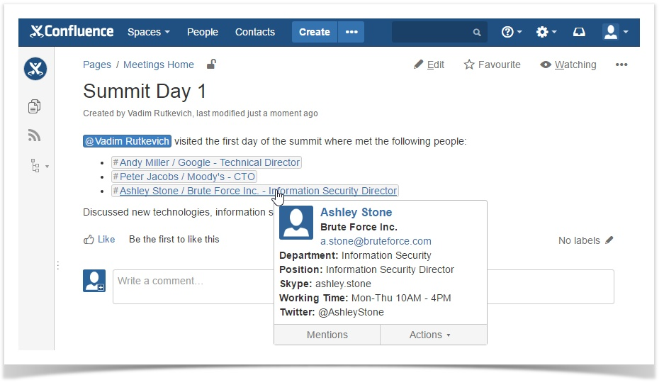 Top 5 New Add-ons for Atlassian Confluence - First Quarter 2016 - contact list