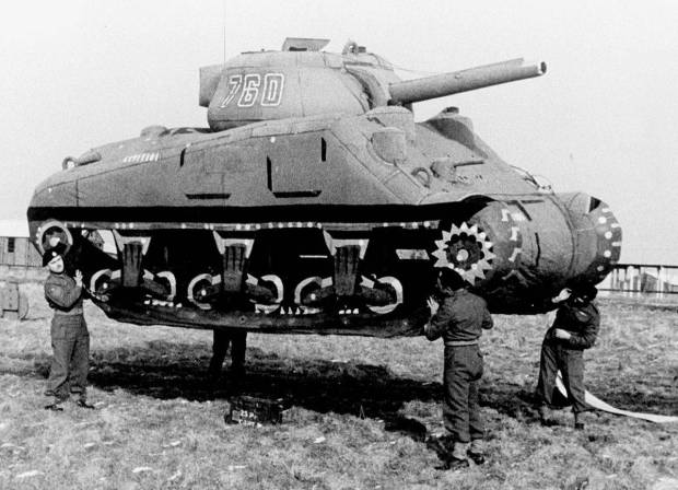 A U.S. Sherman tank, made of inflated rubber, convincingly simulates real armor when seen from the air. Scores of these rubber tanks were used by the Allies in a huge preinvasion deception, Operation Fortitude