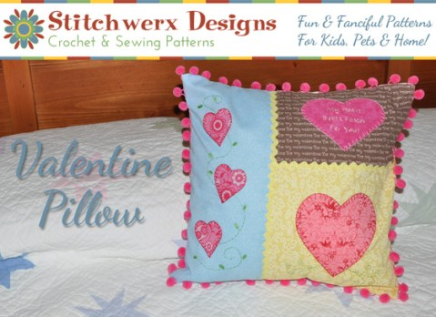 Valentine Heart Applique Pillow  Free Throw Pillow Sewing Pattern Sewing Pattern Design