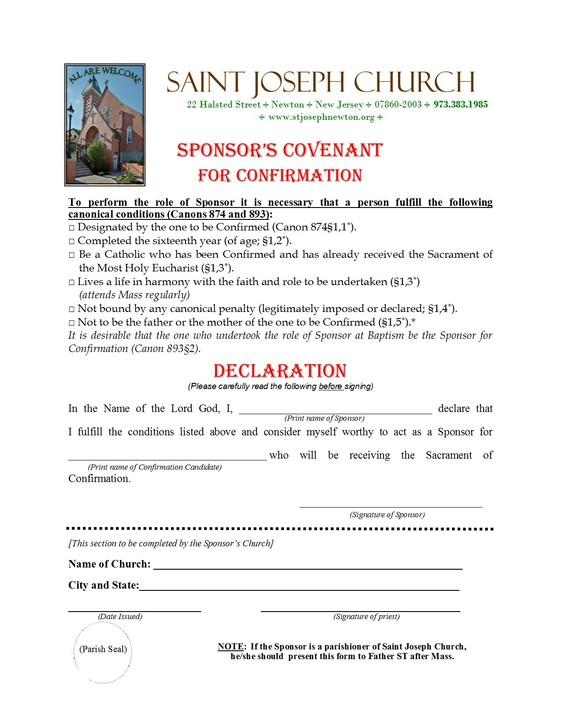 Sponsorship Form - Saint Joseph, Newton - Newton, New Jeresey