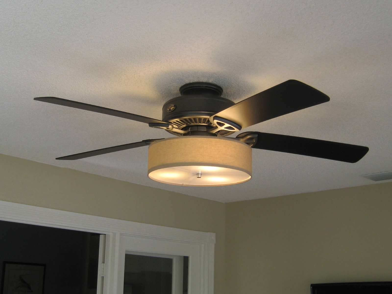 Ceiling Fans With Good Lighting Low Profile Linen Drum Shade Light Kit For Ceiling Fan