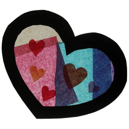 Valentine Craft: Tissue Paper Heart ala Stained Glass
