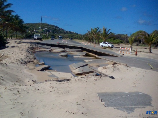 A disaster waiting to happen: The portion of the 4-lane road in Vieux Fort which was destroyed by water during the Christmas Eve trough.