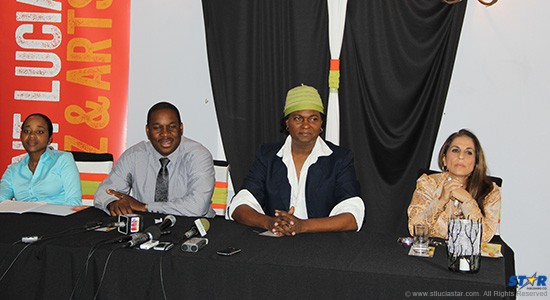 Left to right, SLTB Events Manager Dahlia Guard, Director of Tourism Louis Lewis, Runway Coach Richard Young and Co-Producer and SHE Caribbean publisher Mae Wayne at Wednesday's HOT Couture launch.