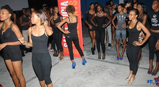 Fit Chick Nasha Smith (front right) looks apprehensive before her first foray  down the rehearsal runway of HOT Couture.