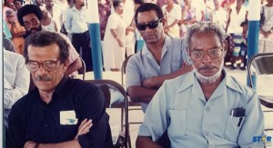Nobel Laureate Derek Walcott (left) with his departed friends Hunter J. Francois (right)  and George Odlum.