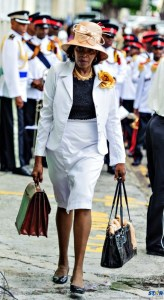 Emma Hipployte on her way to the House of Assembly on Tuesday.