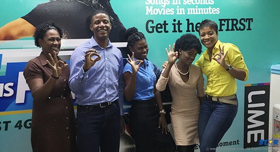 LIME Marketing Executive, Sharlene Jn. Baptiste (far right) with participants in the SLHTA Apprenticeship Programme.