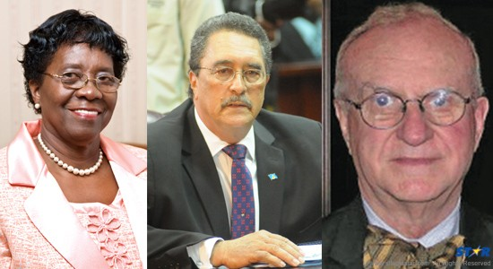 """Left: Prime Minister Kenny Anthony: Does he agree with those who say Grynberg is a non-issue? Center: Governor General Dame Pearlette Louisy: She has described the Grynberg deal as a """"constitutional crisis."""" Right: Colorado oilman Jack Grynberg: He remains in     control of 83 million acres of the Saint Lucia seabed!"""