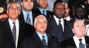 Egypt's former FA president El-Dahshori Harb, left.