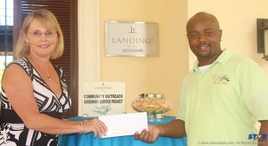 GM of the Landings Kathleen Taylor presenting check to Cutty Ranks.