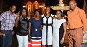 Levern Spencer with family and members of her support team at Sandals Grande.