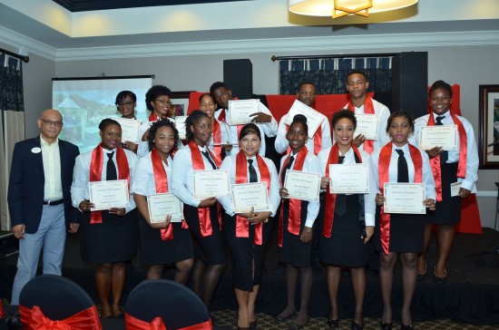 The graduating group from Sandals Regency La Toc with General Manager Michael James.