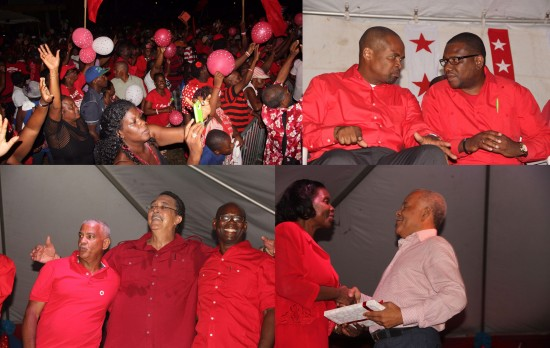 Labour supporters celebrate with their MPs and party leader 65 years of the SLP's existence. (upper left) Is the candidate for Castries South East, Joachim Henry, getting some tips from Laborie MP Alva Baptiste? (upper right) SLP leader Kenny Anthony celebrates with newly-announced candidates Herbert Roserie (left) and Jerome Gideon (right). (lower left) A gift for the right honourable Owen Arthur from Emma Hyppolyte. (lower right)