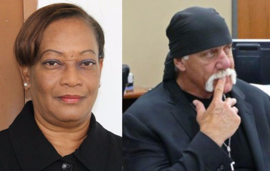 (Left) A St. Kitts couple was awarded nearly half a million dollars in a sex video lawsuit after Justice Lorraine Williams said the accused had breached the claimants' constitutional rights – their right to privacy, their right to property and their right not to be arbitrarily searched. (Right) In this March 1, 2016 file photo Terry Bollea, known as professional wrestler Hulk Hogan, watches potential jurors at the Pinellas County Courthouse, in St. Petersburg, Florida, as jury selection begins in his case against Gawker Media.
