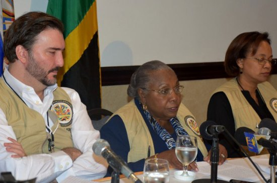 In recent times most Caribbean countries have invited observers during elections including Jamaica's recent poll where an OAS Observer group was present. Pictured: Chief of Mission, Electoral Observation Mission OAS Janet G. Bostwick (centre), flanked by Director of the Department of Electoral Cooperation and Observation, OAS, Gerardo de Icaza (left) and Deputy Chief of Mission, Melene Glynn during a press conference following the Jamaica elections.