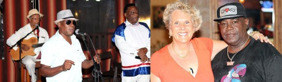 """(Picture 1) Left to right: Gene Lawrence, """"Ezi"""" Hall and """"The Mighty Prince"""" 'singing for their supper' in the restaurant surroundings. (Picture 2) A jubilant Rosie Joinville (left) congratulating """"Papa Vada"""" on having made her and the audience laugh."""