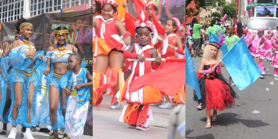 (Left) Concentrating hard on her role as mini ambassdor for Just Us Kids. (Right) Flying the flag for Motion Studios.