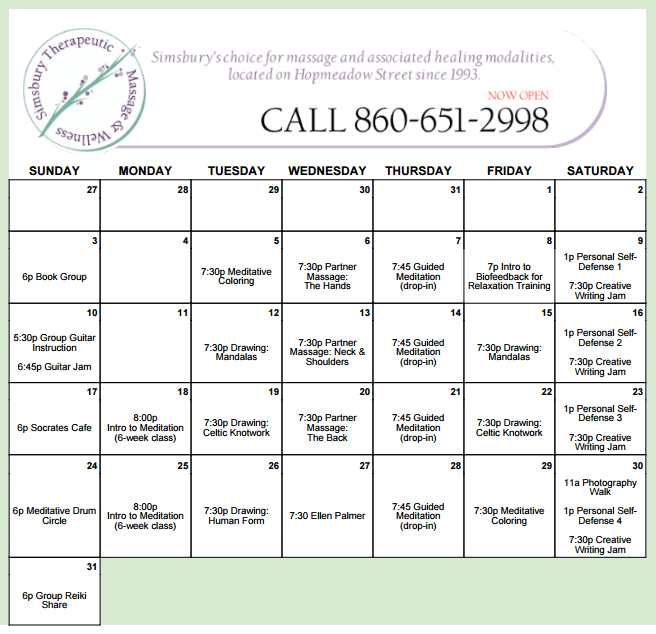 STM Class Calendar January 2016