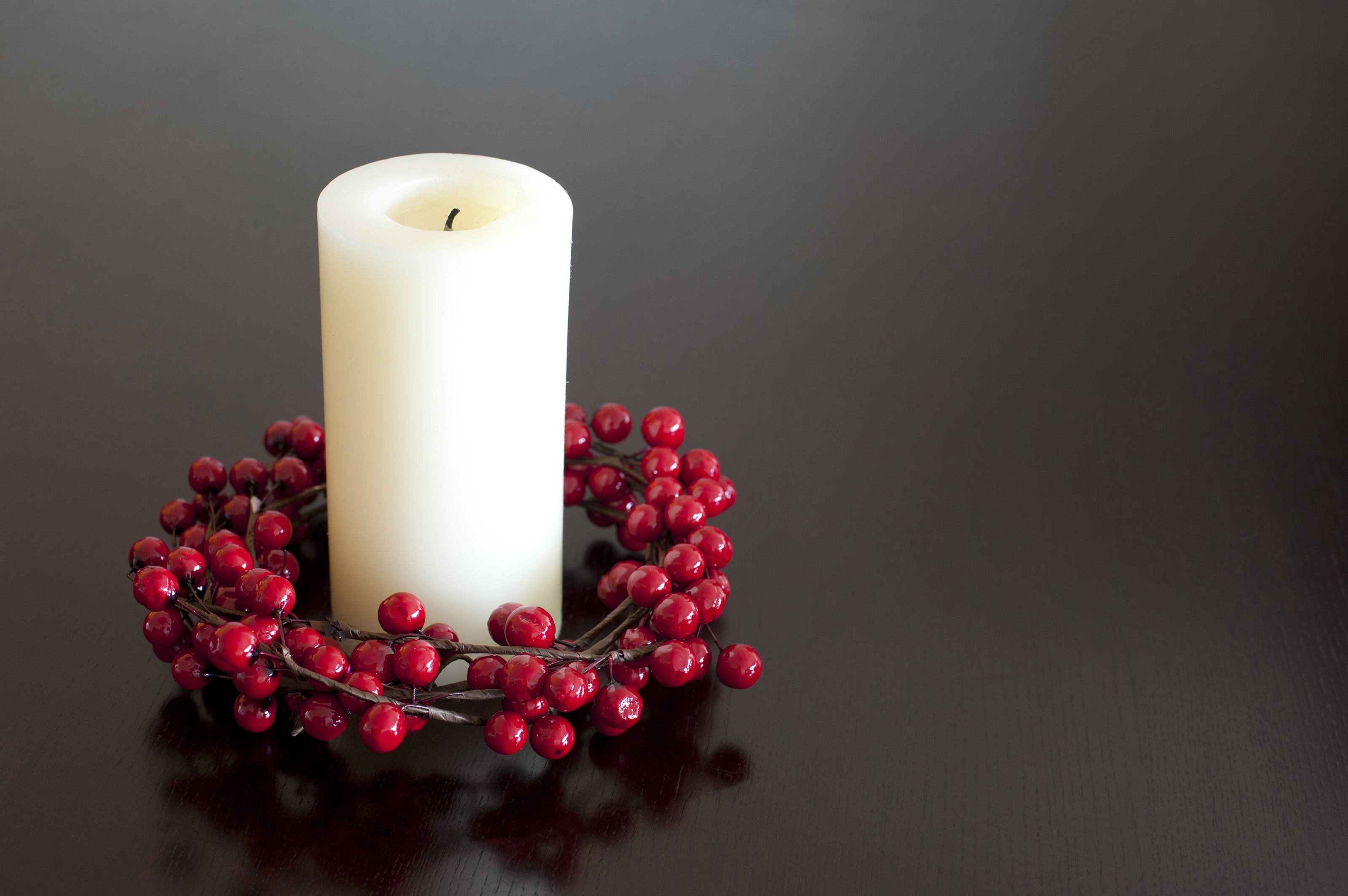 Christmas Candle Black And White Christmas Candle With Red Berries 8215 Stockarch Free