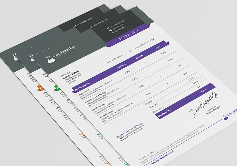 Clean Invoice Template StockInDesign - graphic design invoice sample