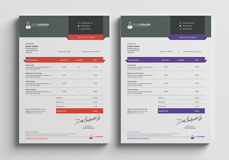 Clean Invoice Template StockInDesign
