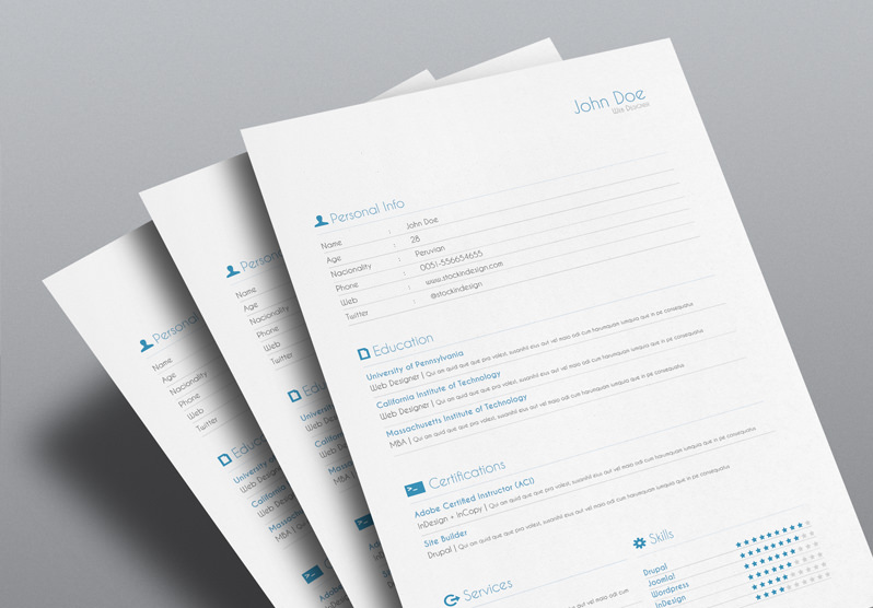 FREE 5 Resume InDesign Templates StockInDesign