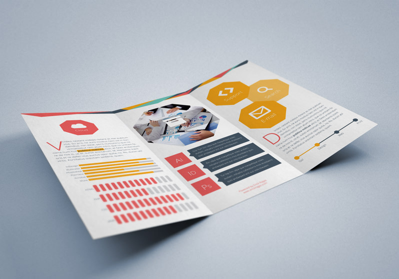 Flat Trifold Brochure StockInDesign - trifold indesign template