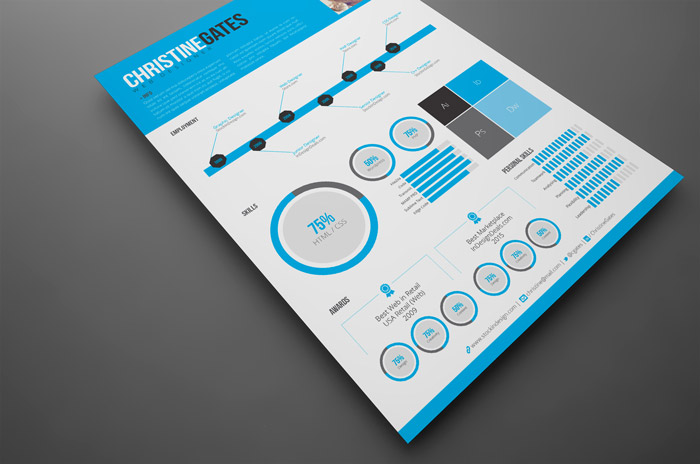 Modern Infographic Resume StockInDesign - infographic resumes