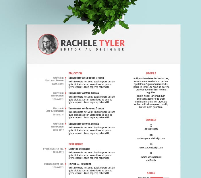 resume template adobe indesign