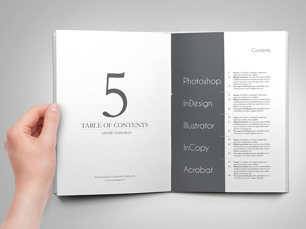 5 Amazing Table of Contents for Adobe InDesign StockInDesign