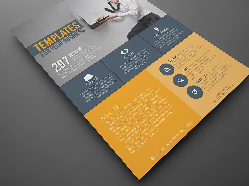 Flat Corporate Flyer Template StockInDesign - corporate flyer template