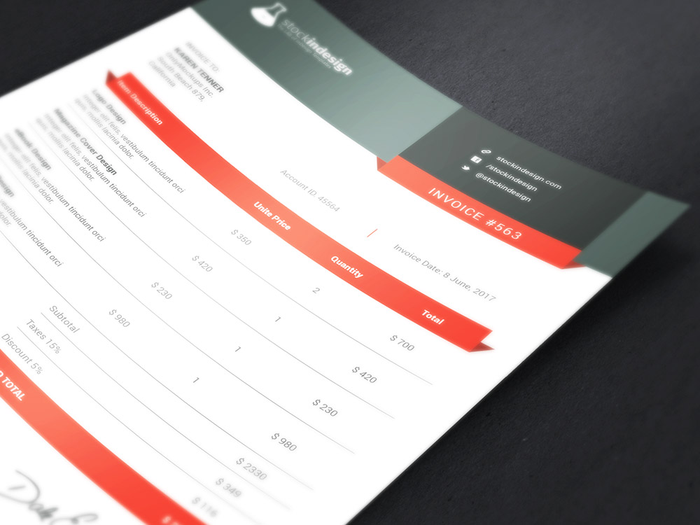 Clean Invoice Template StockInDesign - invoice templets