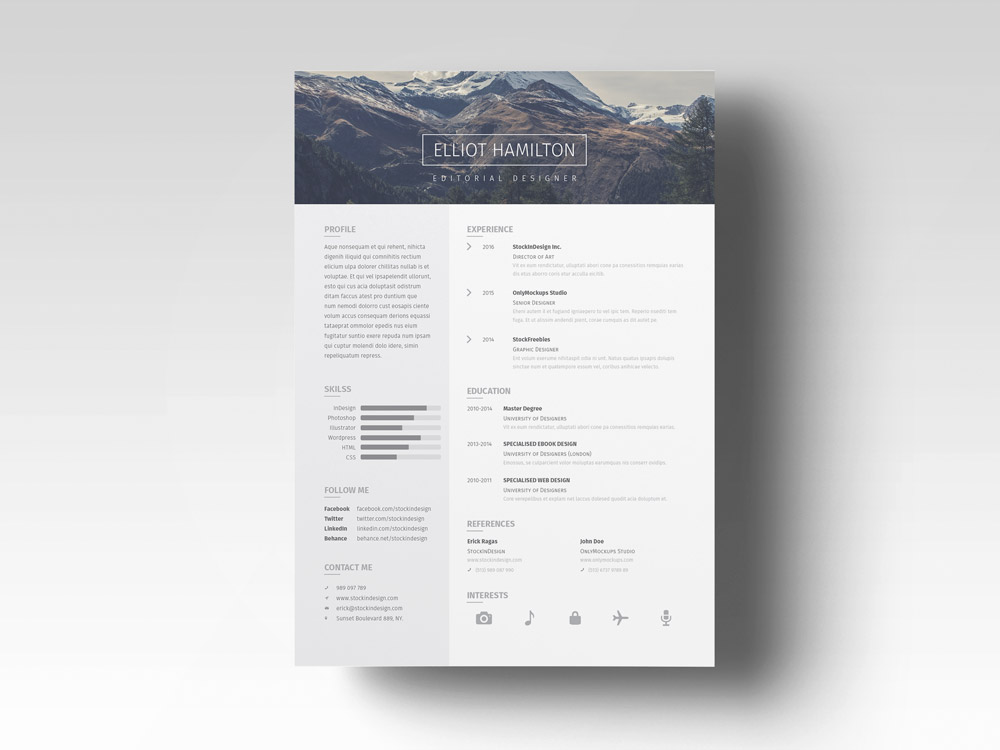 Page Resume Template + Cover Letter StockInDesign - cover sheet resume template