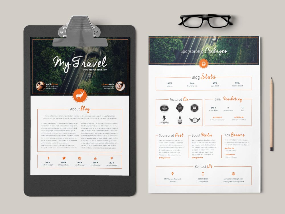 Blog Media Kit Template StockInDesign - media kit template