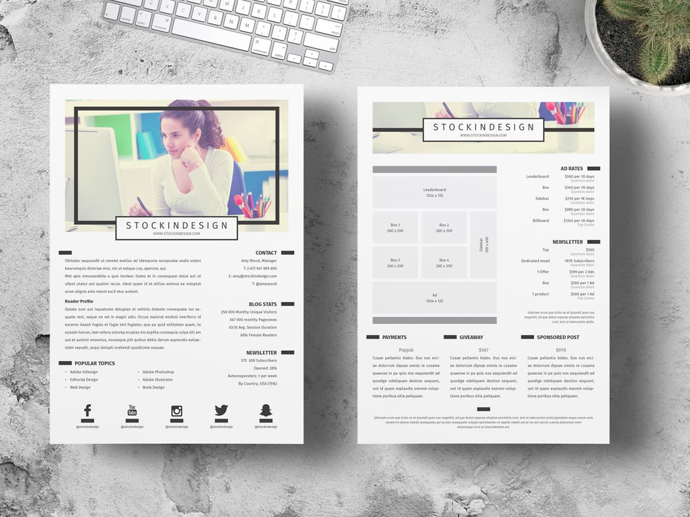 Page media kit template StockInDesign