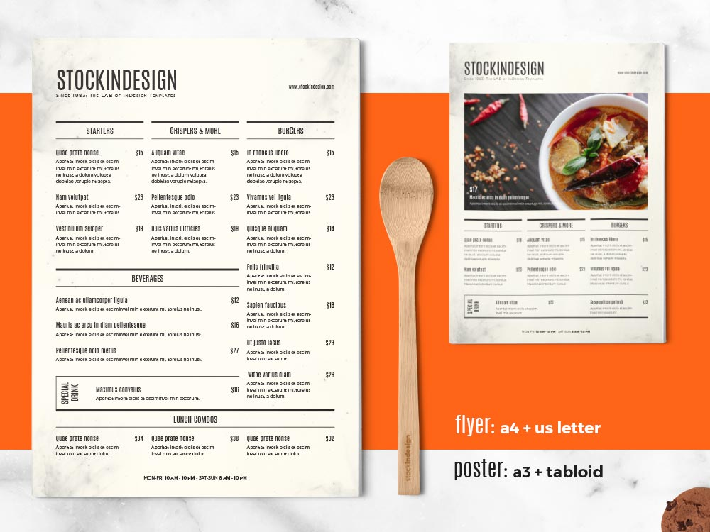 Food Menu Template Adobe InDesign Templates for Restaurants - food menu template