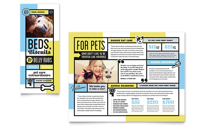 Graphic Stock Free Trial Pet Boarding Brochure Template Design