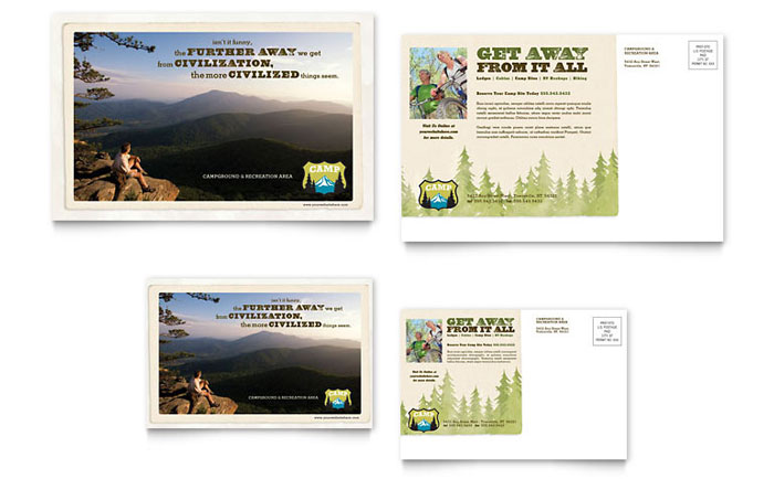 Travel Blog Examples Nature Camping Hiking Postcard Template Design