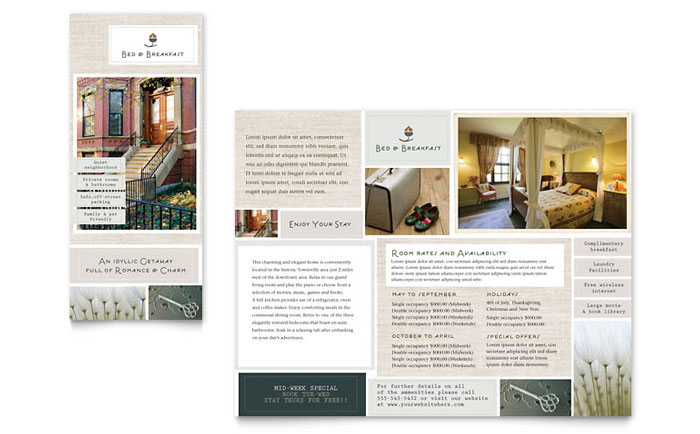 Tourism Blog Template Bed Breakfast Motel Tri Fold Brochure Template Design