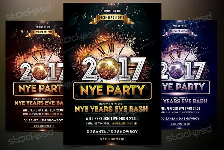2017 NYE Vol4 - Download Free PSD Flyer Template - Stockpsdnet - free new years eve flyer template