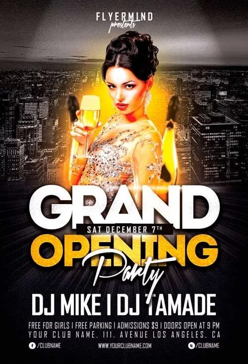 Grand Opening Party Flyer Template Vol1 - Stockpsdnet - Free PSD - party brochure template
