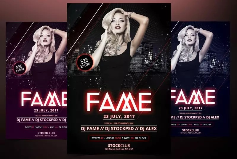 Fame - Download Free PSD Photoshop Flyer Template