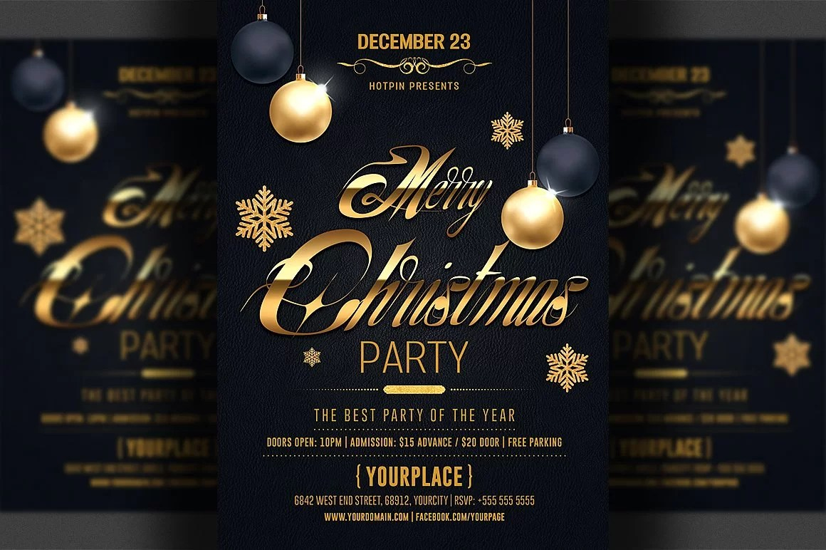 A5 Invitation Mockup Psd Classy Christmas 2018 - Black And Gold Psd Flyer Template