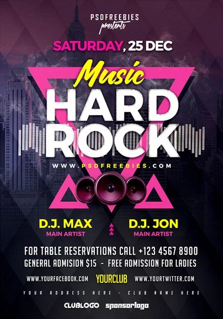 Rock Music Concert - Free PSD Flyer Template - Free PSD Flyer