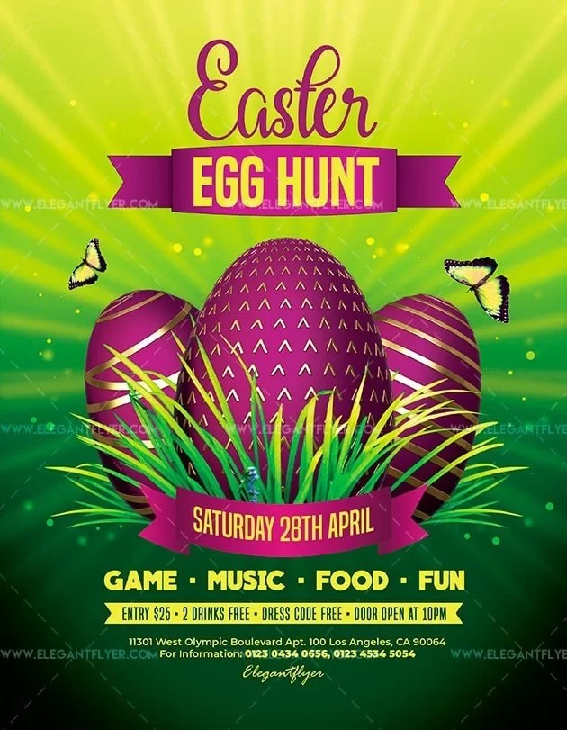 Egg Hunt Easter Free PSD Flyer Template - Free PSD Flyer Templates