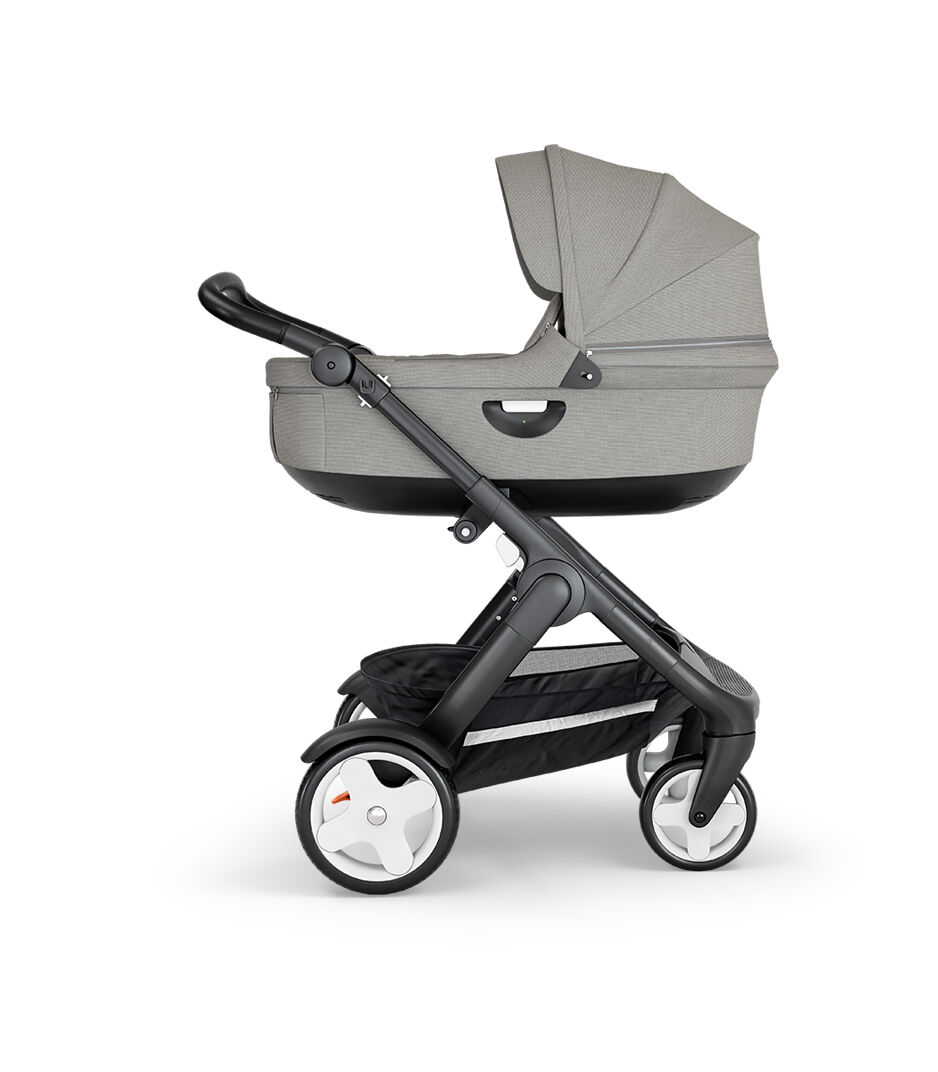 Kinderwagen Stokke Trailz Black Melange Stokke® Stroller Black Carry Cot Brushed Grey