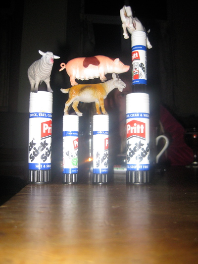 The evenings work encapsulating the essence of Dada Art.  Those persky animals got up to all sorts that weekend!