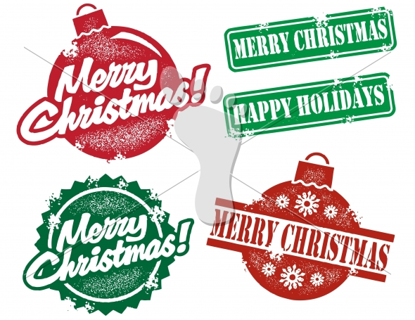 Merry Christmas Happy Holidays Vector Stamps StompStock - Royalty - free images happy holidays